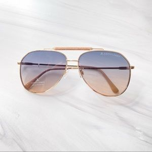 NEW Judith Leiber Crystal Aviator Sunglasses gold